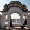 Taking time out at Chandra ghat Pushkar, India yoga retreat